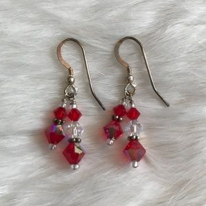 Jewelry - Red and White Beaded Silver Earrings